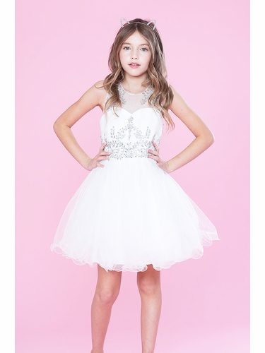 Calla TY003 White Illusion Stone Dress