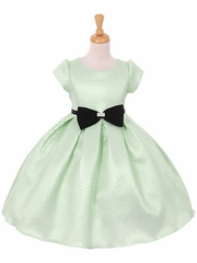 Cap Sleeve Mint Metallic Dress w/ Velvet Bow & Rhinestone