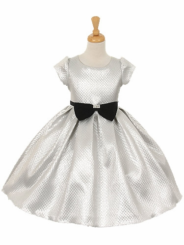 Cap Sleeve Silver Metallic Dress w/ Velvet Bow & Rhinestone