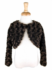 Capes and Jackets - Brown Faux Fur Rosette Bolero