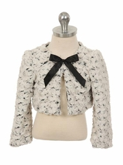 Ivory & Black Two Tone Cuddle Fur Bolero