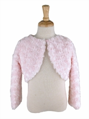 Capes and Jackets - Pink Faux Fur Rosette Bolero