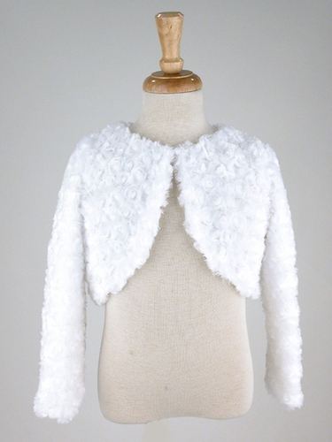Capes and Jackets - White Faux Fur Rosette Bolero