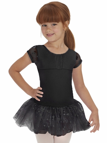 Capezio Child Black Swirls Cap Sleeve Tutu Dress