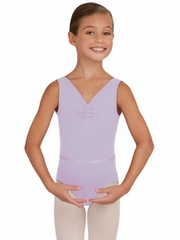 Capezio Lavender V-Neck Pinch Front Leotard W/ Belt