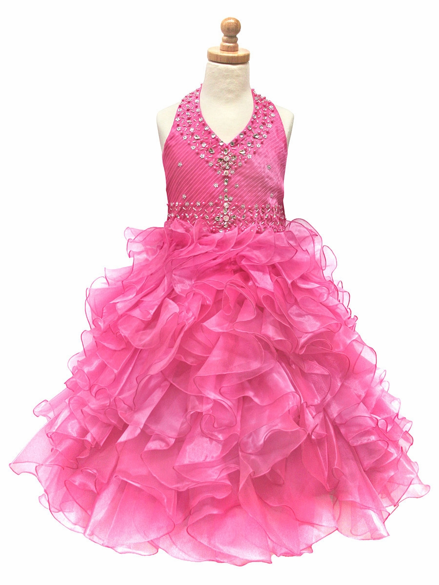 Ruffled Organza Skirt With Embroidered And Beaded Bodice: Carnation Beaded Halter W/ Ruffled Organza Dress