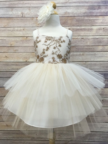 Champagne Beaded Dress w/ Multi-Tiered Skirt