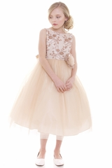 CLEARANCE - Champagne Beaded Embroidered Bodice Tulle Dress w/ Hand Rolled Rosette
