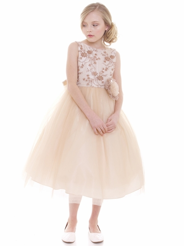 Champagne Beaded Embroidered Bodice Tulle Dress w/ Hand Rolled Rosette