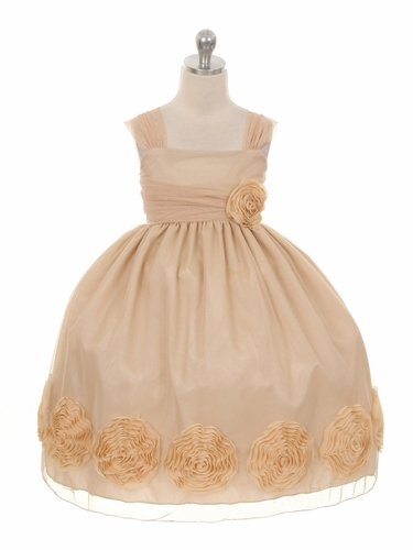 Champagne Big Flower Mesh Dress