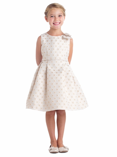 Champagne Circle Floral Stamp Jacquard Dress