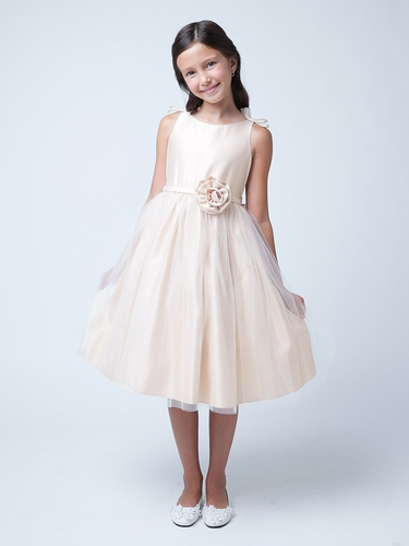 Champagne Double Bow Satin & Tulle Dress