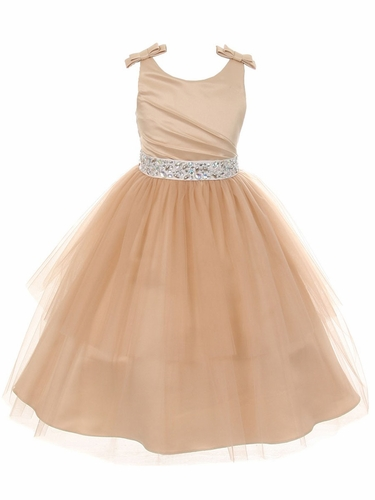Champagne Double Bow Shoulder Jewel Sash Tulle Dress