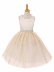 Champagne Double Satin Bow w/ Beaded Trim & Neckline Tulle Dress