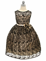CLEARANCE - Champagne Dress w/ Black Overlay Lace