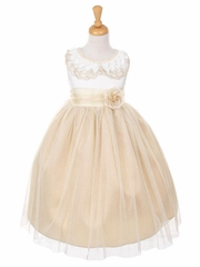 Champagne Embroidered Collar Satin Bodice w/ Glitter Mesh Dress