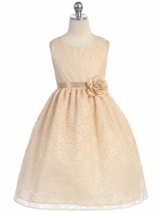 CLEARANCE - Champagne Floral Lace Dress
