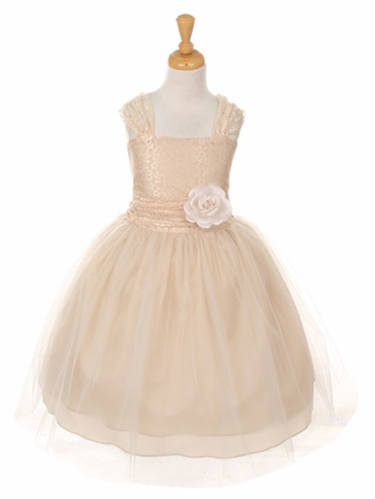 Champagne Floral Lace Dress w/ Cross Back & Tulle Skirt