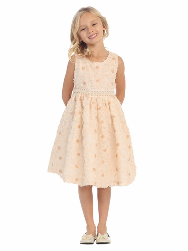 Champagne Floral Ribbon Dress w/ Pearl Waistband