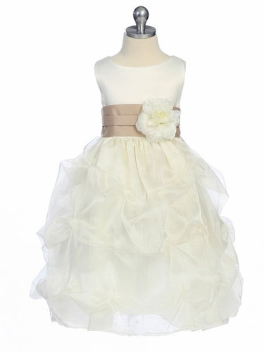 Champagne Flower Girl Dress - Matte Satin Bodice w/ Gathers