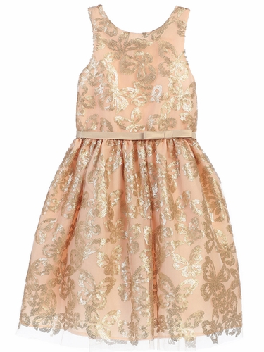 Champagne & Gold Sequin Butterfly Dress