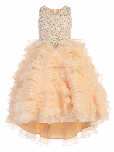 Champagne Gwen and Zoe V-Neck Sparkle Ruffle High Low Dress