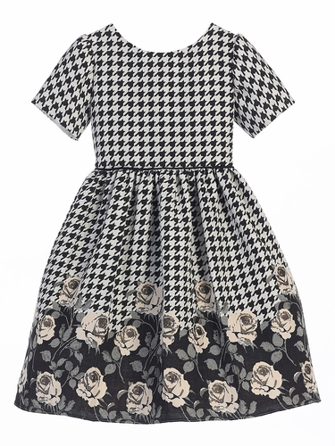Champagne Houndstooth Rose Print Jacquard Dress