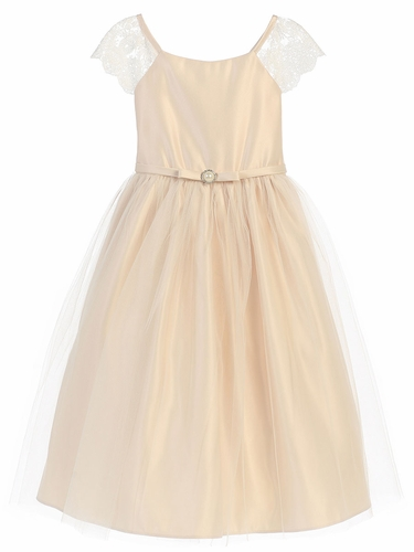 Champagne Lace Sleeve Satin Dress w/ Pearl Brooch