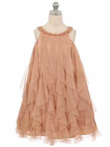 Champagne Mesh Ruffle Dress