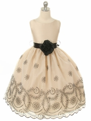 CLEARANCE - Champagne Organza Dress w/ Black Embroidery