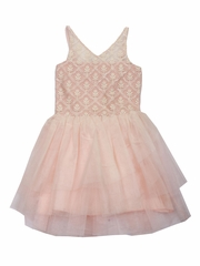 CLEARANCE - Ooh! La La! Couture Champagne/Pink WOW V-Neck Dress