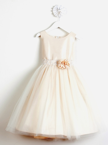Champagne Poly Dupioni Dress w/ Tulle Skirt & Adorned Waistline