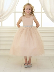 Champagne Rhinestone Waistband Tulle Dress