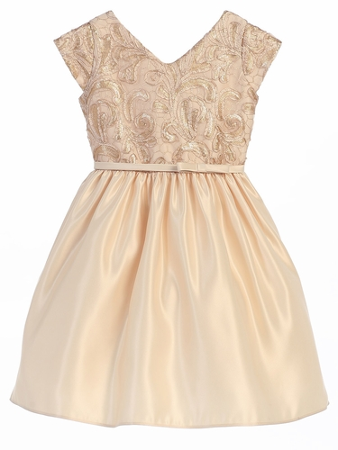 Champagne Ribbon & Sequin Embroidered Satin Dress