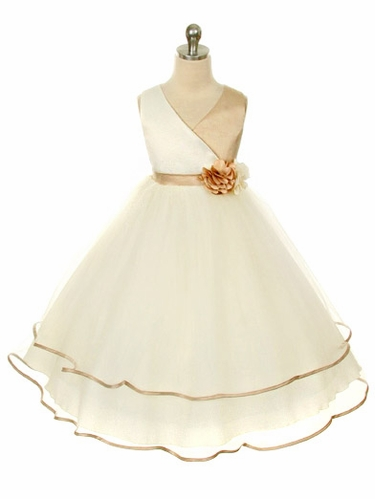 Champagne Satin Bodice with Layered Tulle Skirt