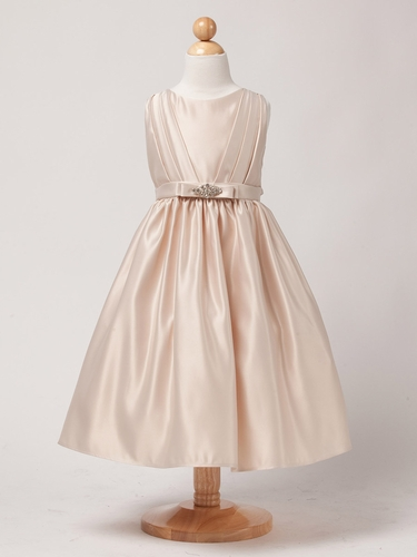 Champagne Satin Dress w/ Rhinestone Pin