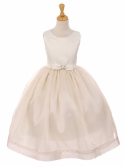 Champagne Satin & Flare Organza Bow Dress