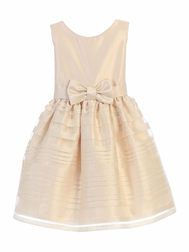 Champagne Satin & Striped Organza Skirt