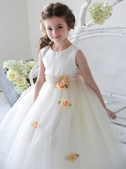 CLEARANCE - Champagne Satin Tulle Dress w/ Sash & Floating Flowers