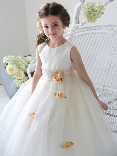 Champagne Satin Tulle Dress w/ Sash & Floating Flowers