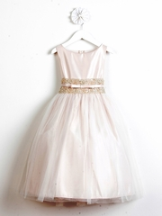 Champagne Satin w/ Metallic Lace Dress