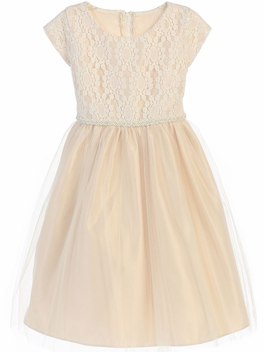 Champagne Sequin Embroidered Lace w/ Tulle Dress