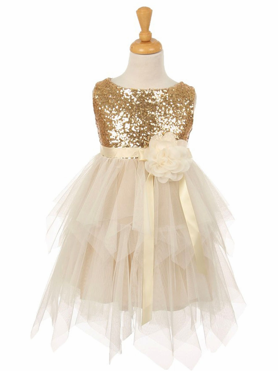 Champagne Gold Flower Girl Dresses Pinkprincess