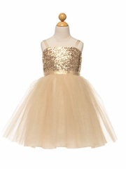 Champagne & Gold Flower Girl Dresses - PinkPrincess.com