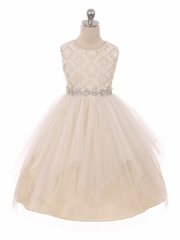 Good Girl 3573 Champagne Sleeveless Lace Contrast Double Tulle Dress w/ Bejeweled Waist
