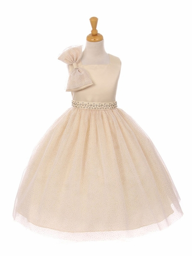 Champagne Sparkle Tulle Bow Dress