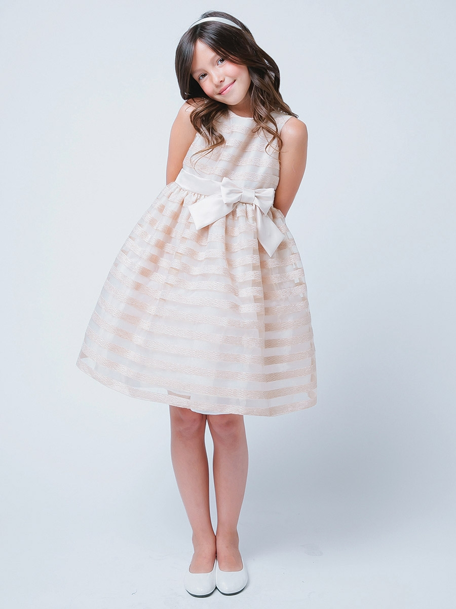 Striped Organza Flower Girl Dress