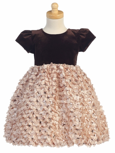Champagne Velvet w/ Ribboned Tulle Dress