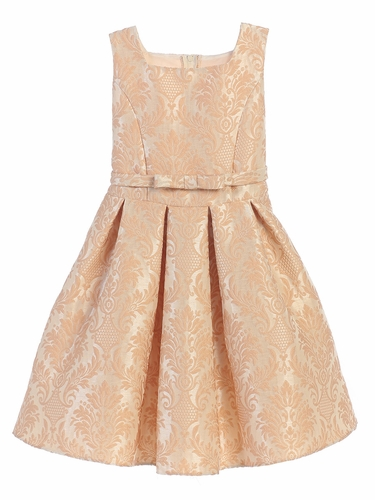 CLEARANCE - Champagne Vintage Baroque Pleated Jacquard Dress