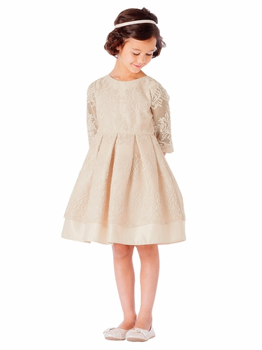 Champagne Vintage Lace w/ Scallop Sleeve Dress